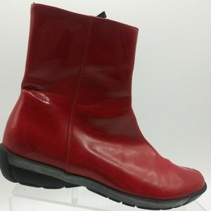 Aquatalia Red Patent Leather Ankle Boots Size 7